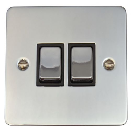 G&H FC302 Flat Plate Polished Chrome 2 Gang 1 or 2 Way Rocker Light Switch
